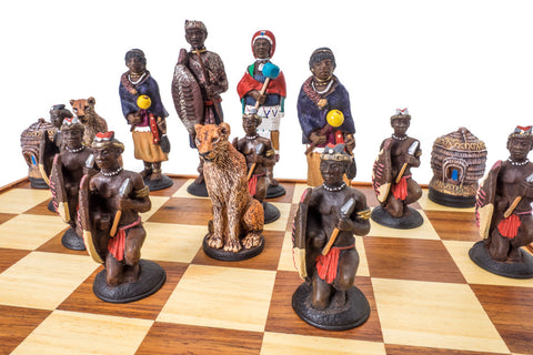 Buy Zulu vs Ndebele Tribal Chess Set (complete set with board) for R 2990.00