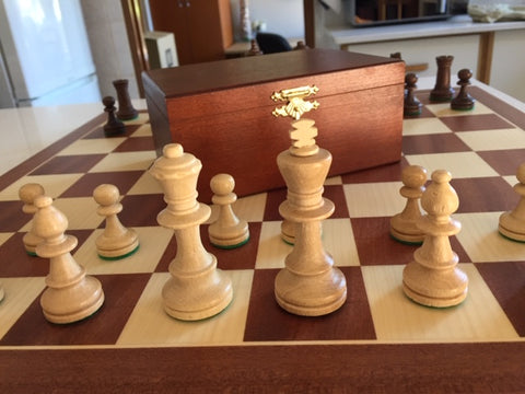 Buy German Knight Staunton in wooden cabinet & Mahogany & Maple board for R 999.95