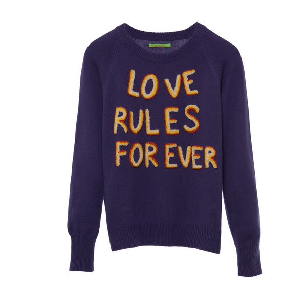 'Love Rules Forever' sweater purple 3