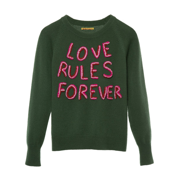 'Love Rules Forever' sweater green 3