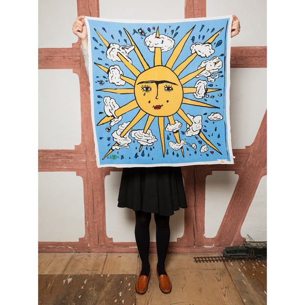 'Sol y nube' foulard blue & yellow