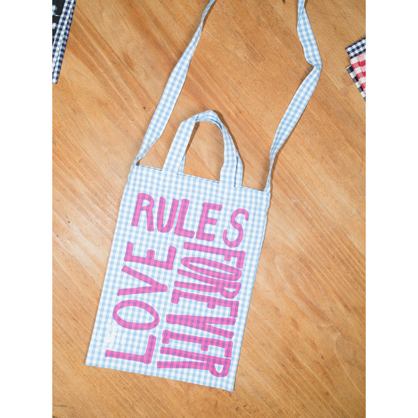 'Love Rules Forever Carry All' kids bag light blue/pink