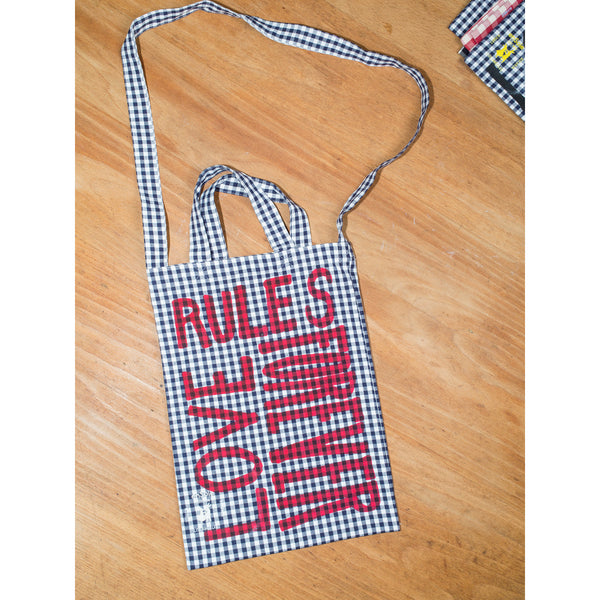'Love Rules Forever Carry All' kids bag navy/red