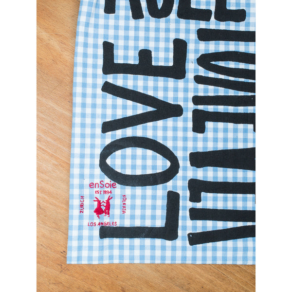 'Love Rules Forever Carry All' kids bag light blue/black