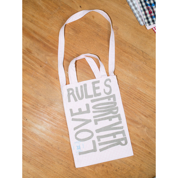 'Love Rules Forever Carry All' kids bag pink/grey