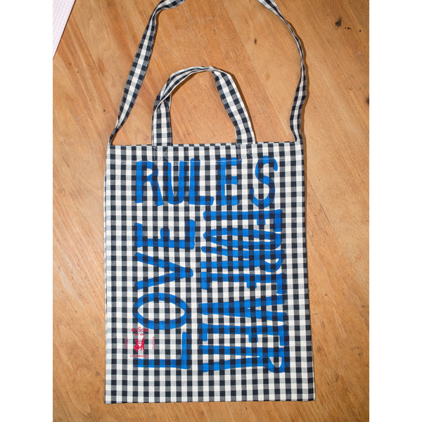 'Love Rules Forever Carry All' bag vichy black/blue