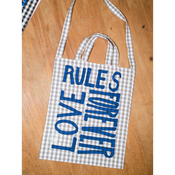 'Love Rules Forever Carry All' bag vichy moonrock/blue