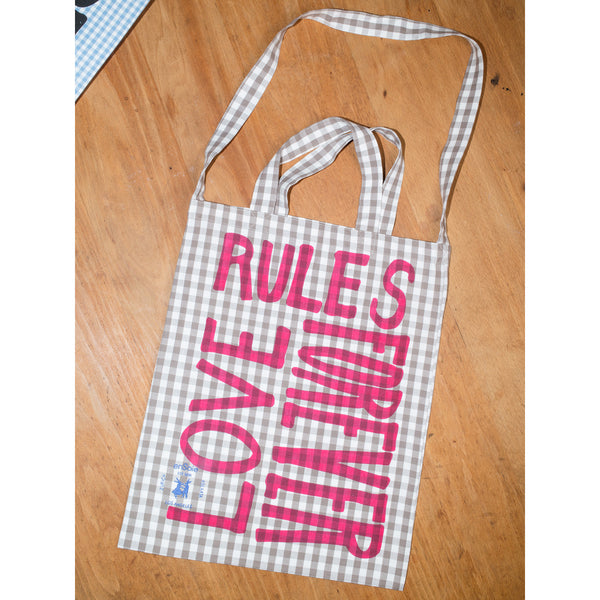 'Love Rules Forever Carry All' bag vichy moonrock/pink
