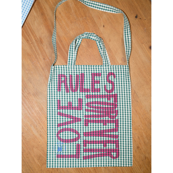 'Love Rules Forever Carry All' bag vichy green/pink