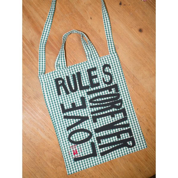 'Love Rules Forever Carry All' bag vichy green/black