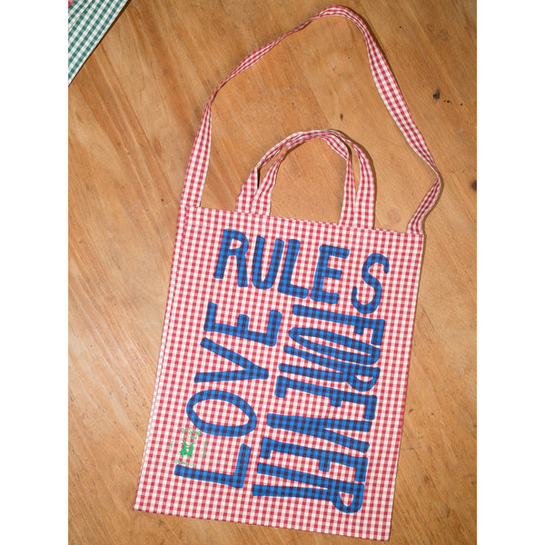 'Love Rules Forever Carry All' bag vichy red/blue