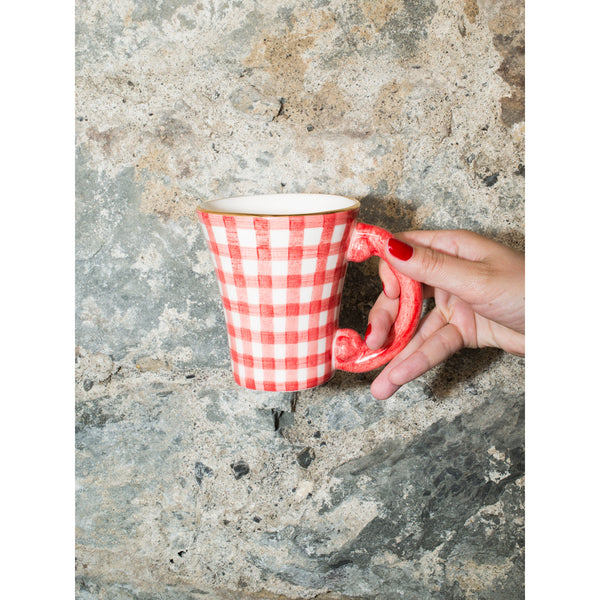 'Baroque' mug vichy red