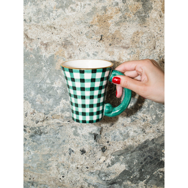 'Baroque' mug vichy green