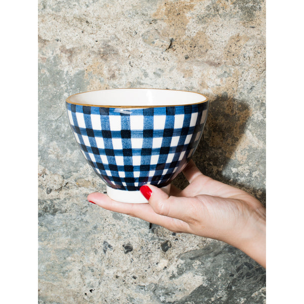 'Billie' breakfast bowl vichy navy