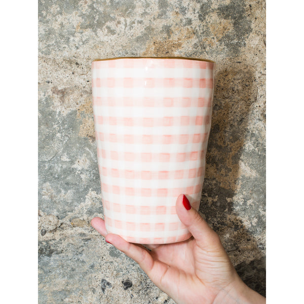 'Sourire' small vase vichy pink
