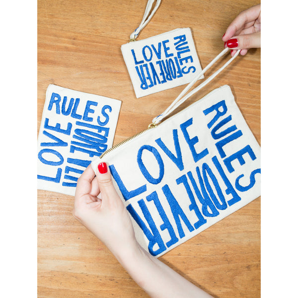 'Love Rules Forever' pouches canvas w blue
