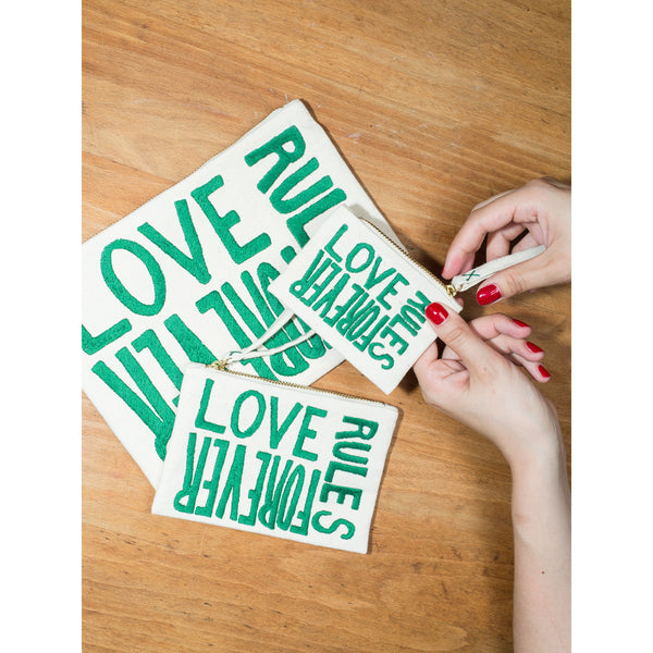 'Love Rules Forever' pouches canvas w green
