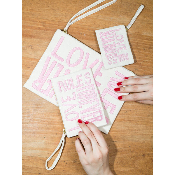 'Love Rules Forever' pouches canvas w pink