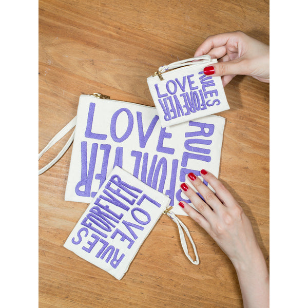 'Love Rules Forever' pouches canvas w purple