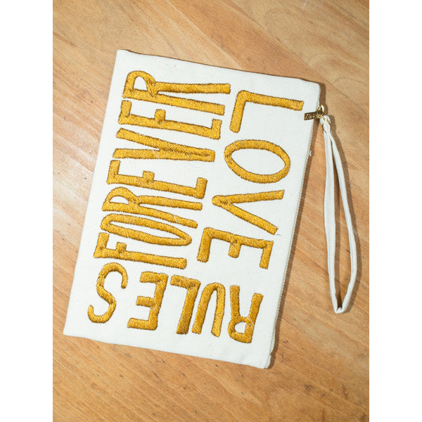 'Love Rules Forever' pouches canvas w gold