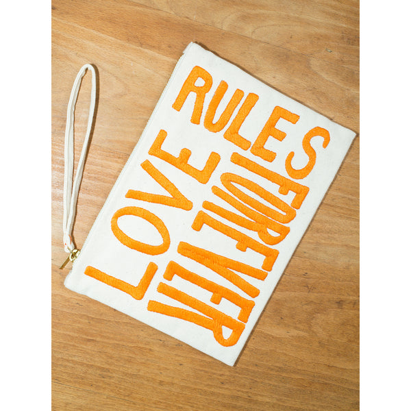 'Love Rules Forever' pouches canvas w orange