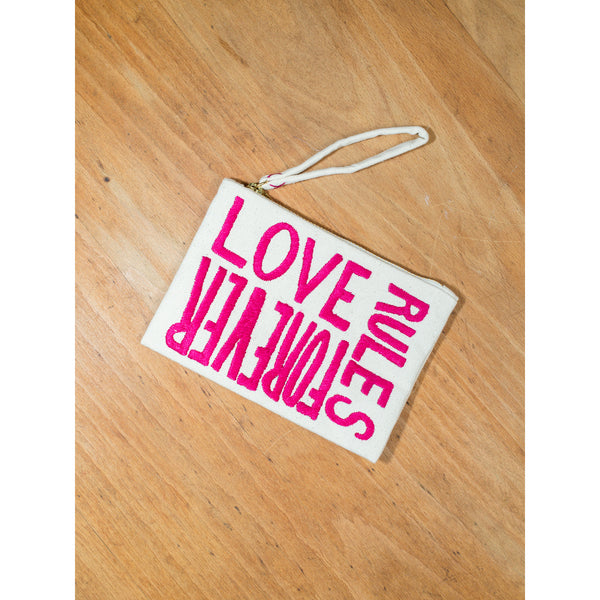 'Love Rules Forever' pouches canvas w shocking pink