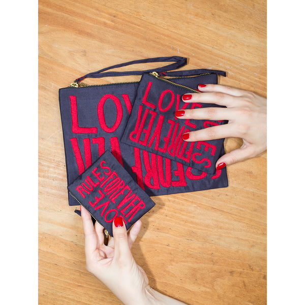 'Love Rules Forever' pouches navy