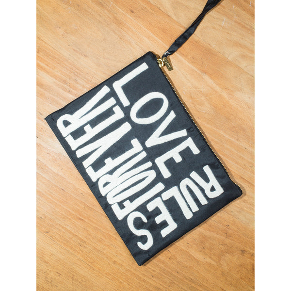 'Love Rules Forever' pouches black