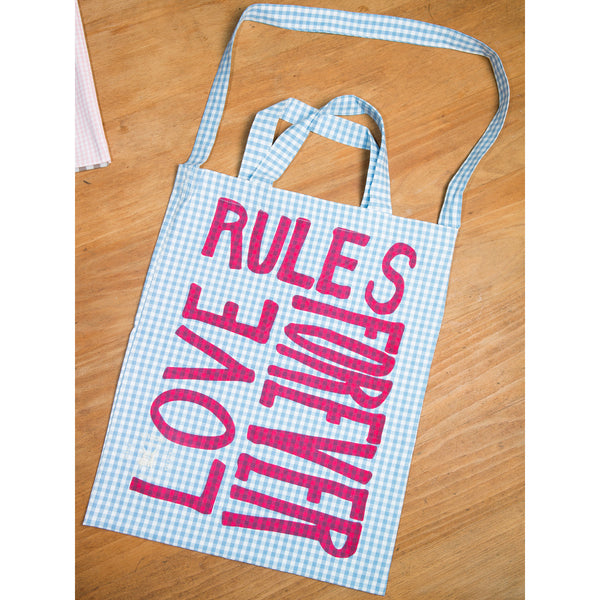 'Love Rules Forever Carry All' bag vichy light blue/pink