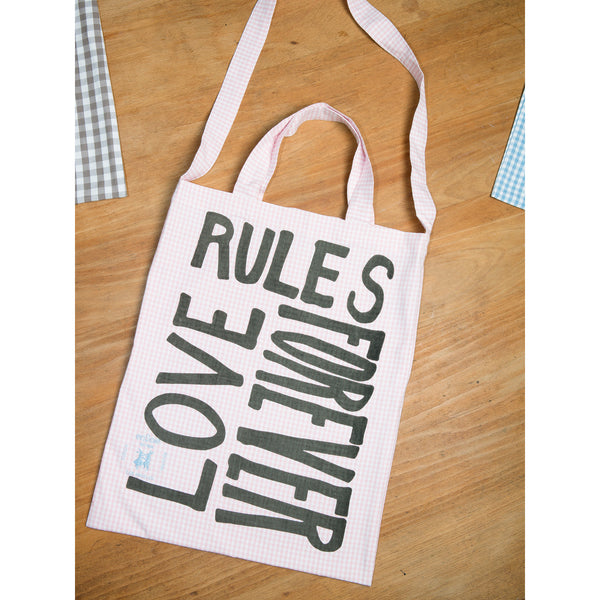 'Love Rules Forever Carry All' bag vichy pink/grey