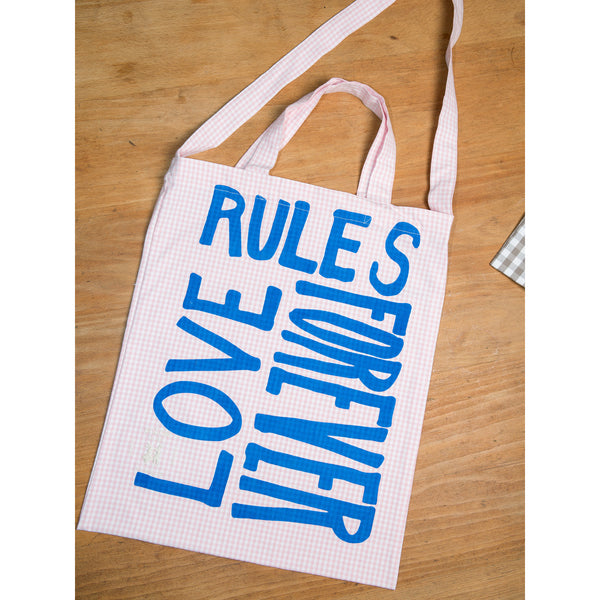 'Love Rules Forever Carry All' bag vichy pink/blue