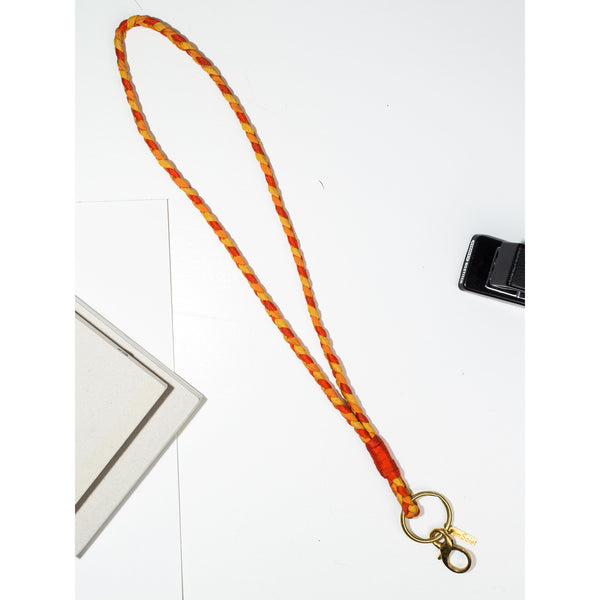 'Large Keychain' braided orange tones