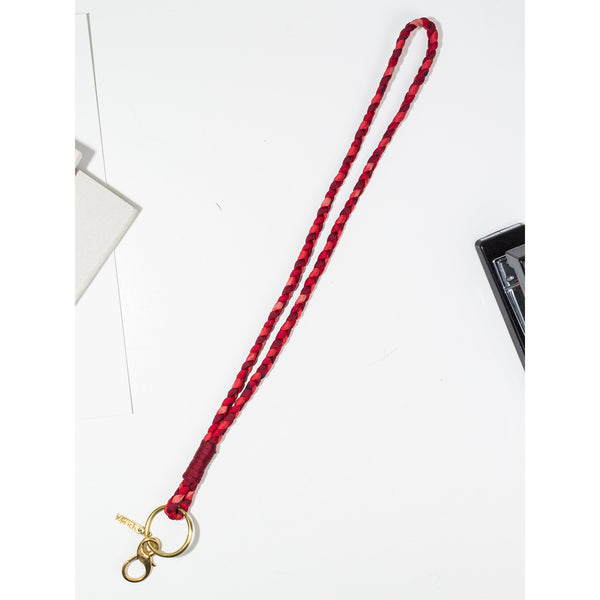 'Large Keychain' braided red tones