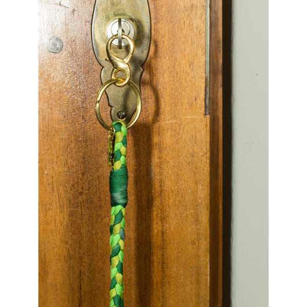 'Large Keychain' braided green tones