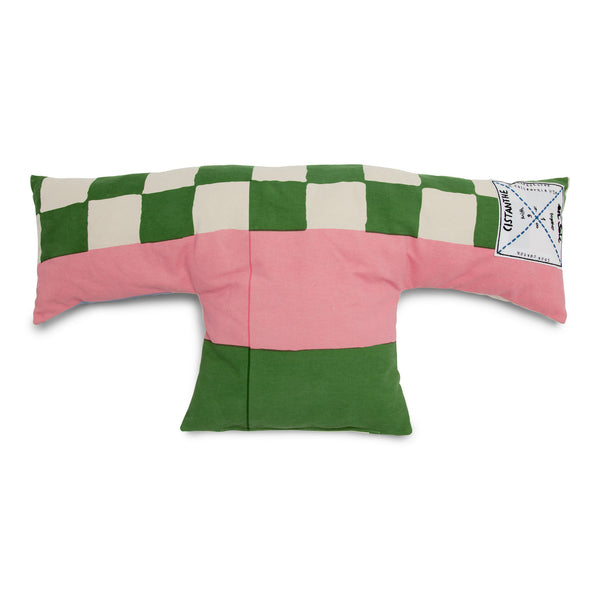 'enSoie + CISTANTHE' pillow medium green/pink