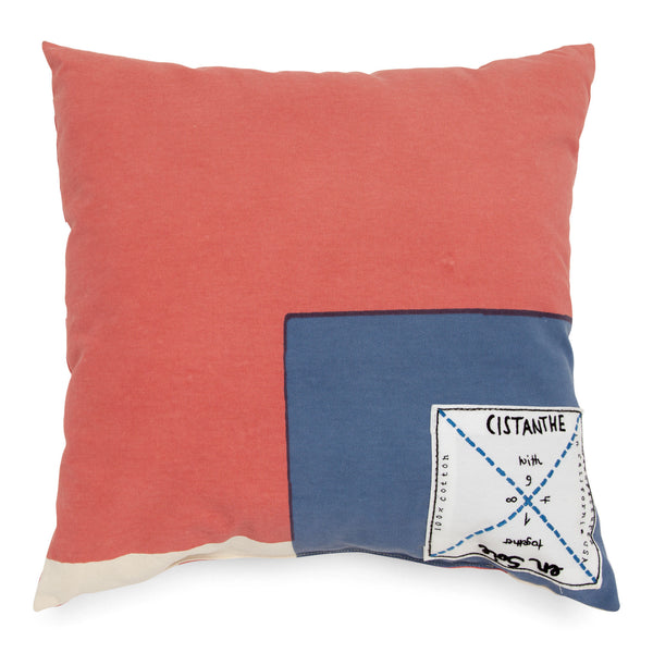 'enSoie + CISTANTHE' pillow small rose/blue