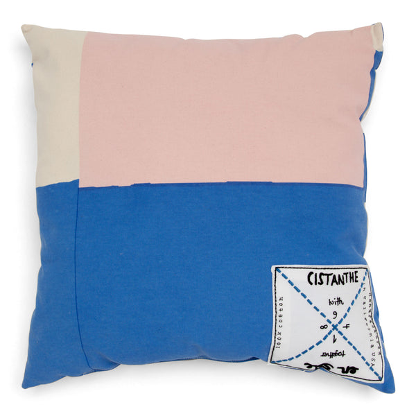 'enSoie + CISTANTHE' pillow small pink/blue