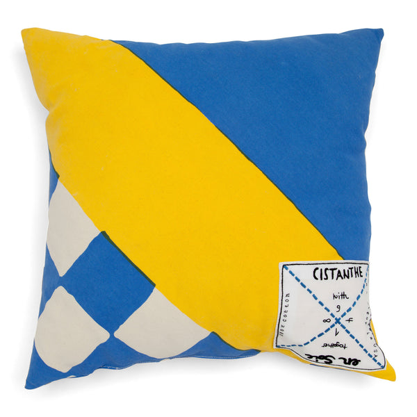 'enSoie + CISTANTHE' pillow small yellow/blue
