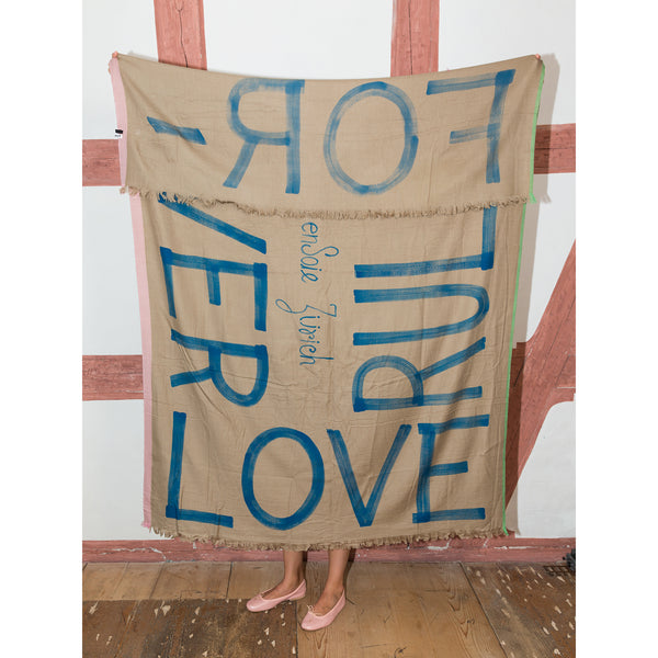 'Love Rules Forever' wool scarf warm sand