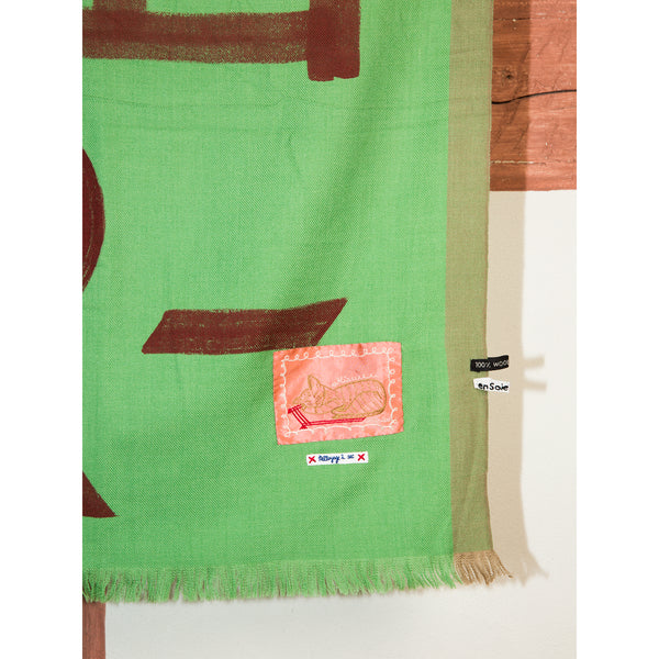 'Love Rules Forever' wool scarf island green