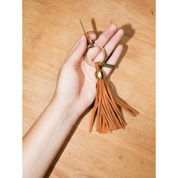 Keychain leather tassel brown