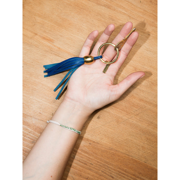 Keychain leather tassel blue