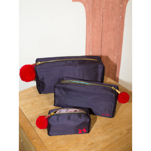 'Linda' toiletry cases silk navy