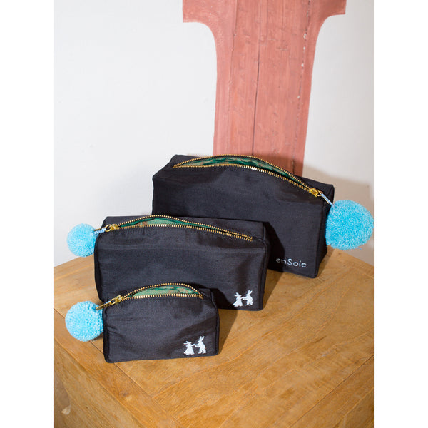 'Linda' toiletry cases silk black