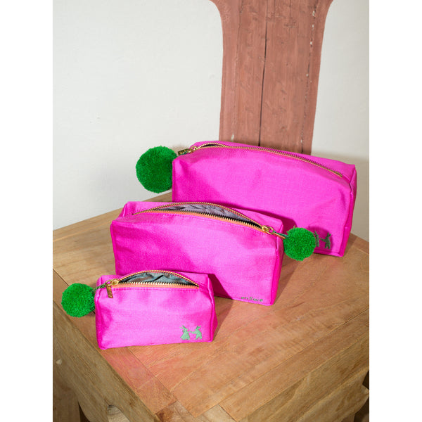 'Linda' toiletry cases silk shocking pink