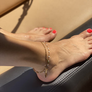 Load image into Gallery viewer, HERA Anklet Gold & White