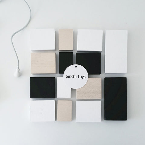 Wooden blocks - black, white, nude