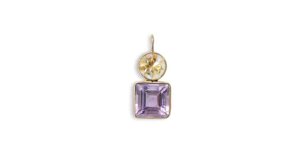 Amethyst & Citrine 14k Necklace Charm. Faceted citrine round and amethyst square with 14...