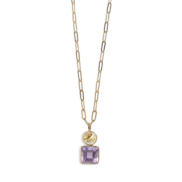 Amethyst & Citrine 14k Necklace Charm