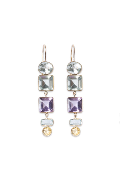 Aquamarine, Amethyst and Citrine Earrings